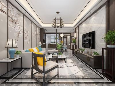 金融街听湖小镇洋房130㎡中式风格装修案例